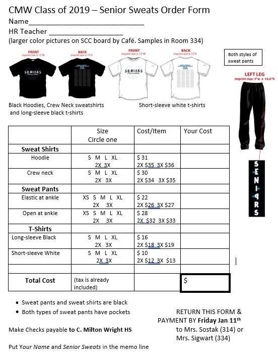 Senior Class Council; Senior Sweats Order Form